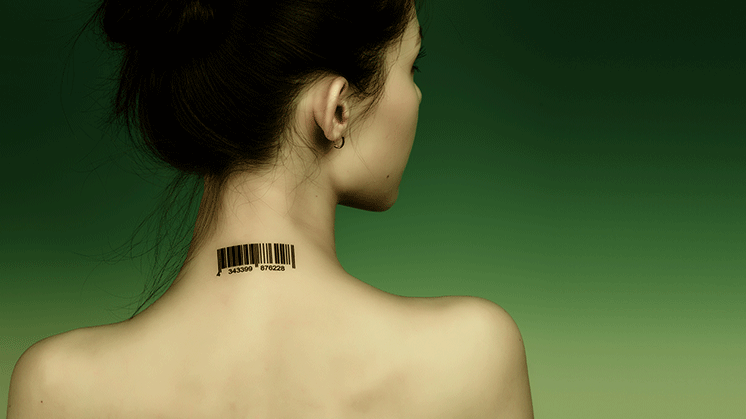 Girl with barcode on neck